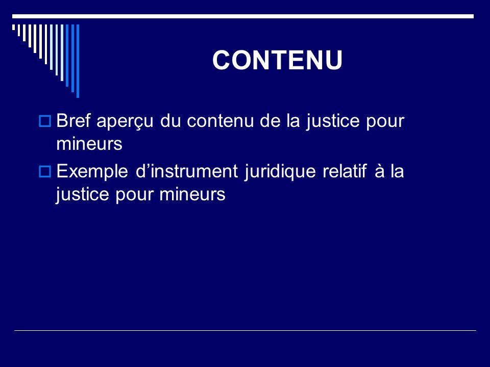 CONTENU  Bref aperçu du contenu de la justice pour mineurs  Exemple d'instrument juridique relatif à la justice pour mineurs