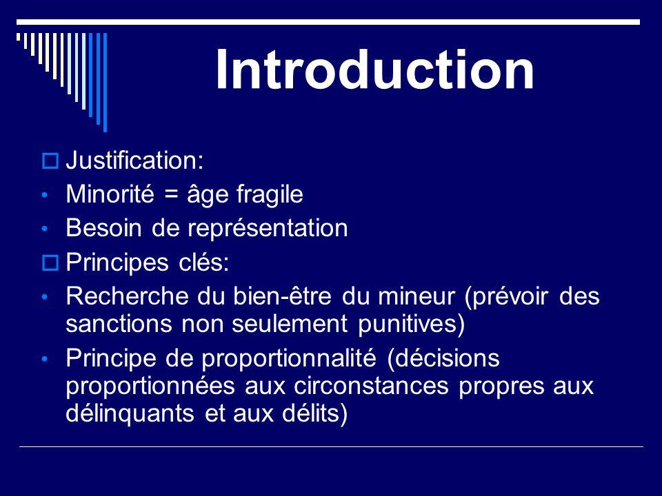 Introduction  Justification: Minorité = âge fragile Besoin de représentation  Principes clés: Recherche du bien-être du mineur (prévoir des sanction