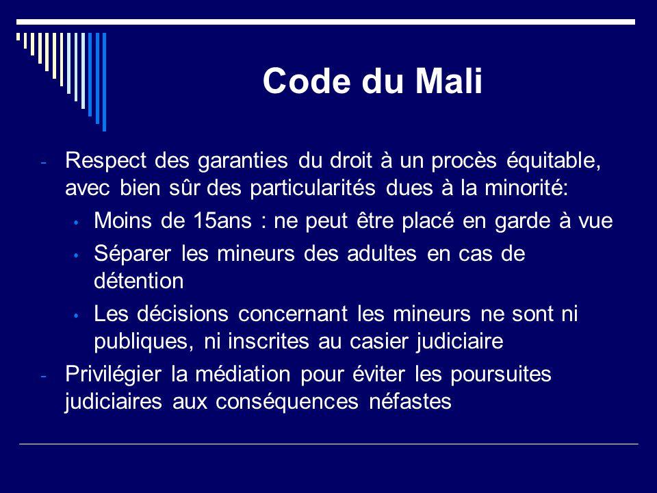 Code du Mali - Respect des garanties du droit à un procès équitable, avec bien sûr des particularités dues à la minorité: Moins de 15ans : ne peut êtr