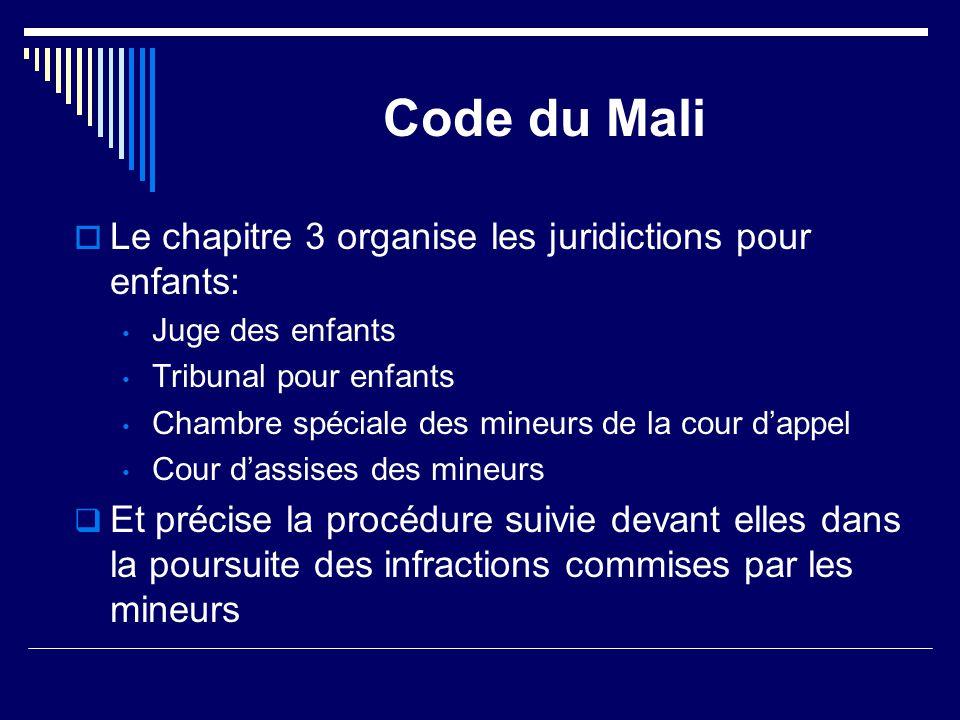 Code du Mali  Le chapitre 3 organise les juridictions pour enfants: Juge des enfants Tribunal pour enfants Chambre spéciale des mineurs de la cour d'