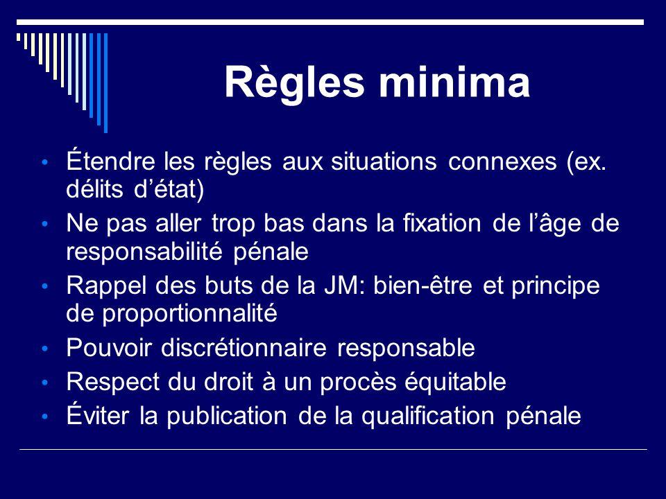 Règles minima Étendre les règles aux situations connexes (ex. délits d'état) Ne pas aller trop bas dans la fixation de l'âge de responsabilité pénale