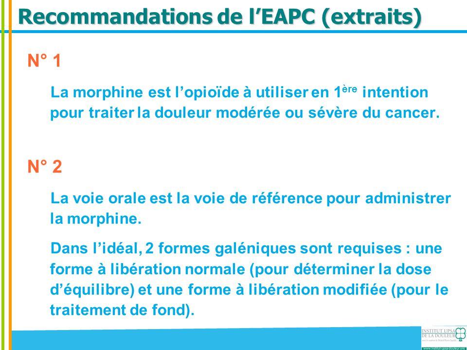 Recommandations de l'EAPC (extraits) N° 1 La morphine est l'opioïde à utiliser en 1 ère intention pour traiter la douleur modérée ou sévère du cancer.