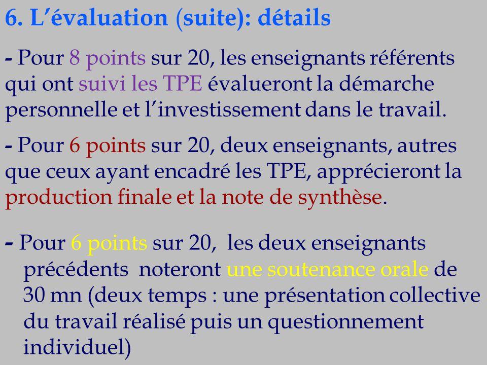- Pour 6 points sur 20, les deux enseignants précédents noteront une soutenance orale de 30 mn (deux temps : une présentation collective du travail ré