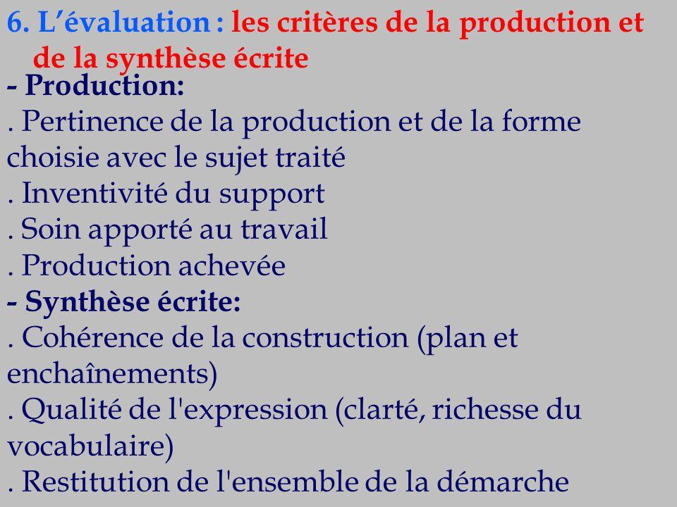 6. L'évaluation : les critères de la production et de la synthèse écrite - Production:. Pertinence de la production et de la forme choisie avec le suj