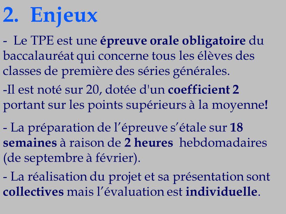 - Le TPE est une épreuve orale obligatoire du baccalauréat qui concerne tous les élèves des classes de première des séries générales. -Il est noté sur