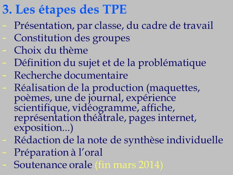 3. Les étapes des TPE - - Présentation, par classe, du cadre de travail - - Constitution des groupes - - Choix du thème - - Définition du sujet et de