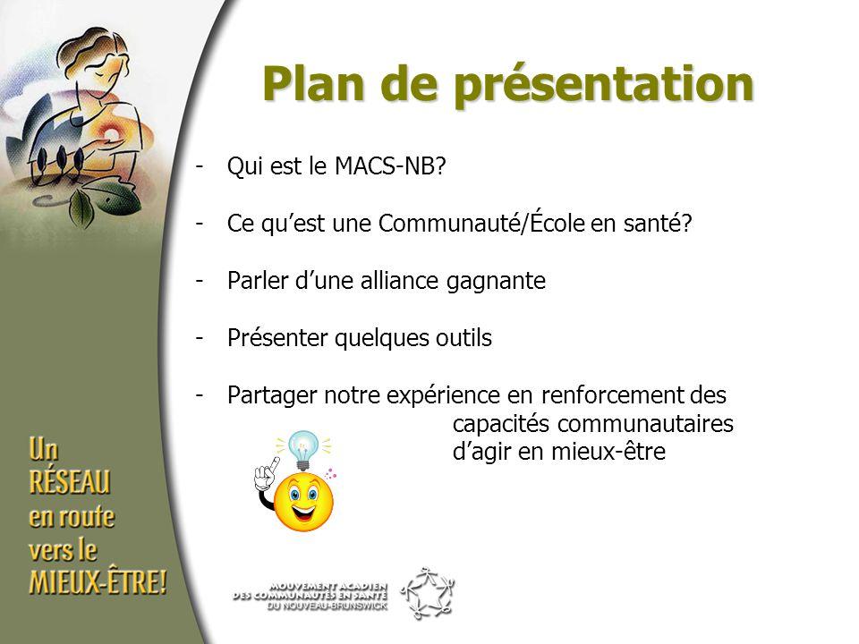 Plan de présentation -Qui est le MACS-NB. -Ce qu'est une Communauté/École en santé.