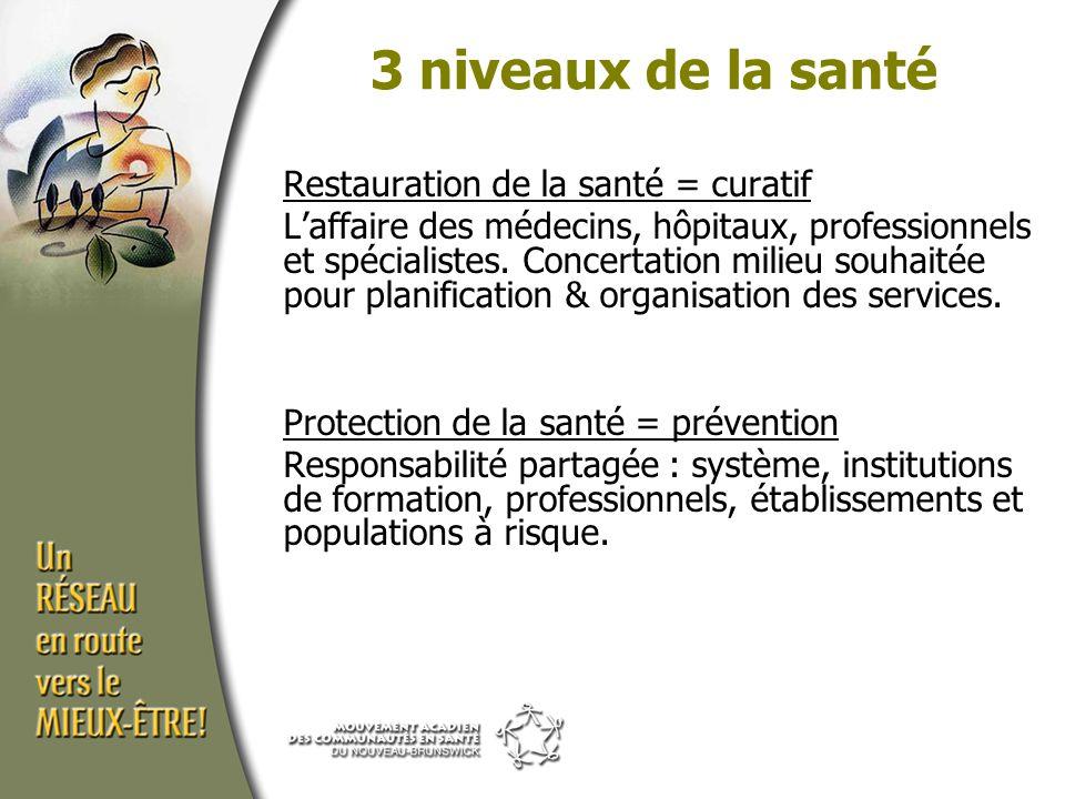Restauration de la santé = curatif L'affaire des médecins, hôpitaux, professionnels et spécialistes.