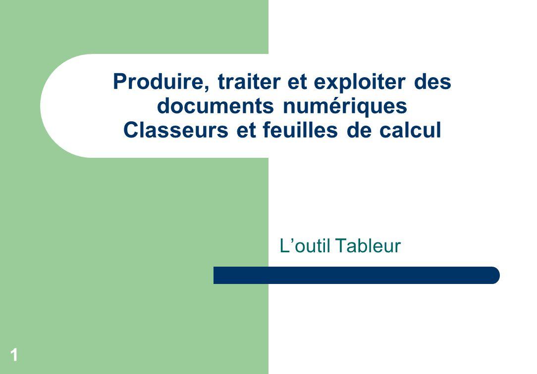 L'outil Tableur 1 Produire, traiter et exploiter des documents numériques Classeurs et feuilles de calcul