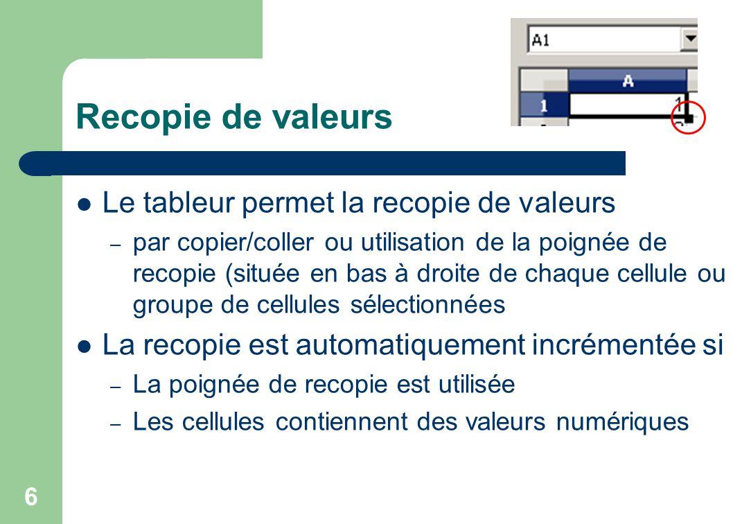 Recopie de valeurs Le tableur permet la recopie de valeurs – par copier/coller ou utilisation de la poignée de recopie (située en bas à droite de chaque cellule ou groupe de cellules sélectionnées La recopie est automatiquement incrémentée si – La poignée de recopie est utilisée – Les cellules contiennent des valeurs numériques 6