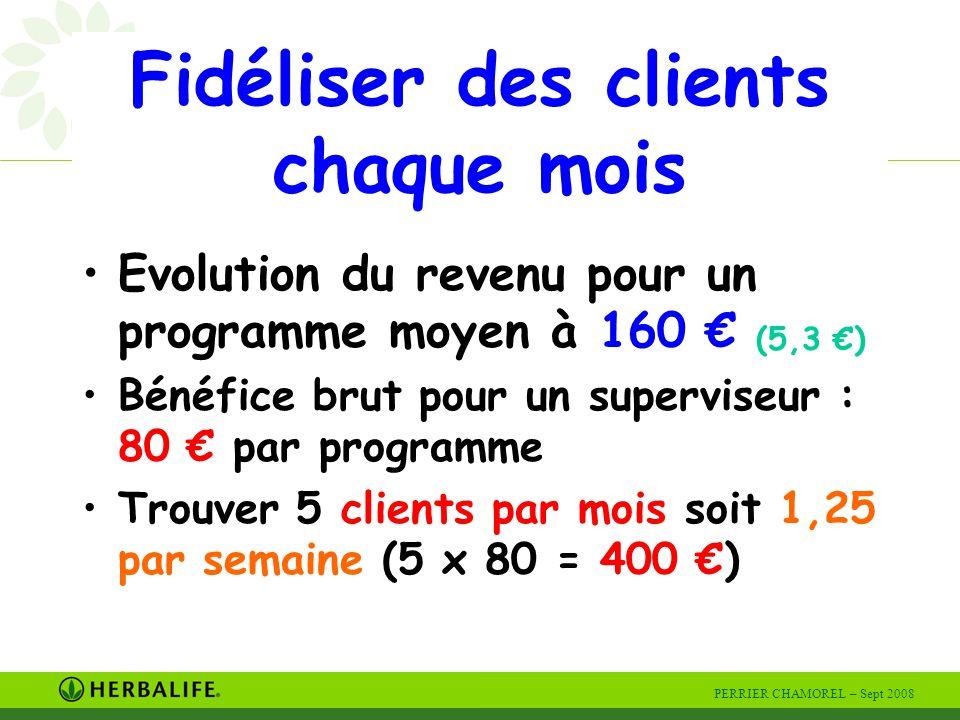 PERRIER CHAMOREL – Sept 2008 Fidéliser des clients chaque mois Evolution du revenu pour un programme moyen à 160 € (5,3 €) Bénéfice brut pour un superviseur : 80 € par programme Trouver 5 clients par mois soit 1,25 par semaine (5 x 80 = 400 €)