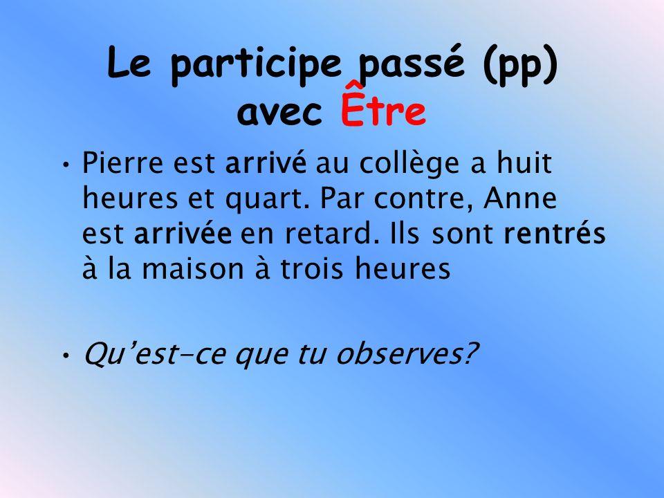Le participe passé (pp) avec Être Pierre est arrivé au collège a huit heures et quart.