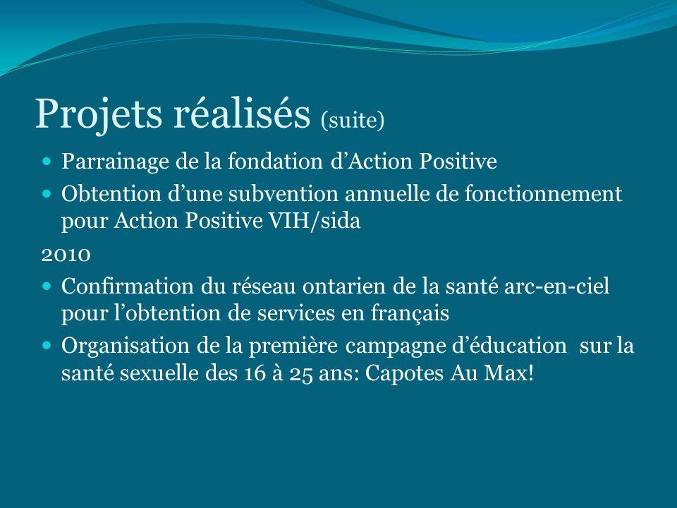 Projets réalisés (suite) Parrainage de la fondation d'Action Positive Obtention d'une subvention annuelle de fonctionnement pour Action Positive VIH/sida 2010 Confirmation du réseau ontarien de la santé arc-en-ciel pour l'obtention de services en français Organisation de la première campagne d'éducation sur la santé sexuelle des 16 à 25 ans: Capotes Au Max!