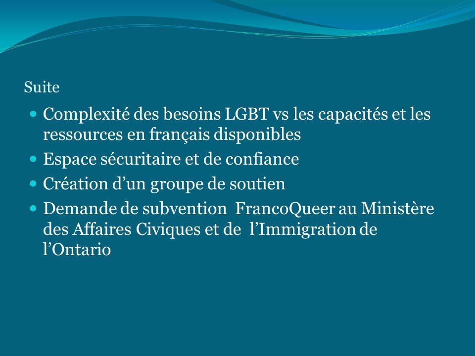 Suite Complexité des besoins LGBT vs les capacités et les ressources en français disponibles Espace sécuritaire et de confiance Création d'un groupe de soutien Demande de subvention FrancoQueer au Ministère des Affaires Civiques et de l'Immigration de l'Ontario
