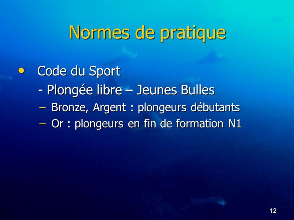 12 Normes de pratique Code du Sport Code du Sport - Plongée libre – Jeunes Bulles - Plongée libre – Jeunes Bulles –Bronze, Argent : plongeurs débutant