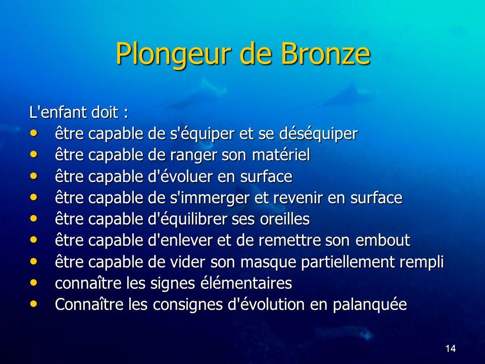 14 Plongeur de Bronze L'enfant doit : être capable de s'équiper et se déséquiper être capable de s'équiper et se déséquiper être capable de ranger son