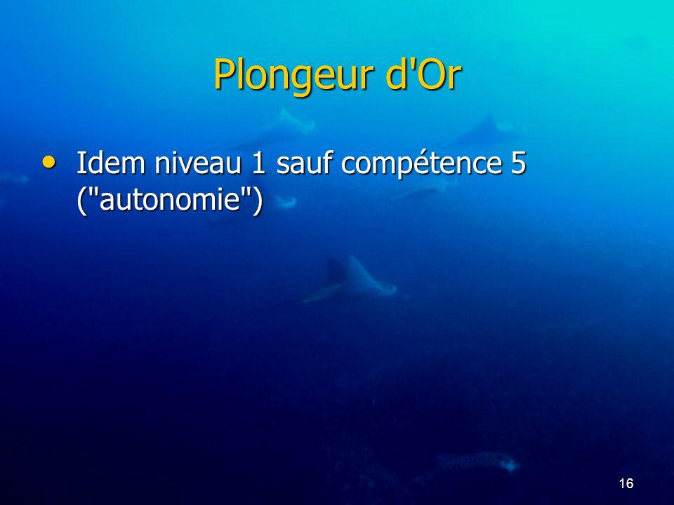 16 Plongeur d'Or Idem niveau 1 sauf compétence 5 (