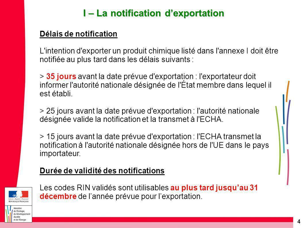 15 V – L'export en situation d'urgence sanitaire ou environnementale  Sur justificatif  Le délai minimum de 35 jours pour la notification ne s'applique pas.