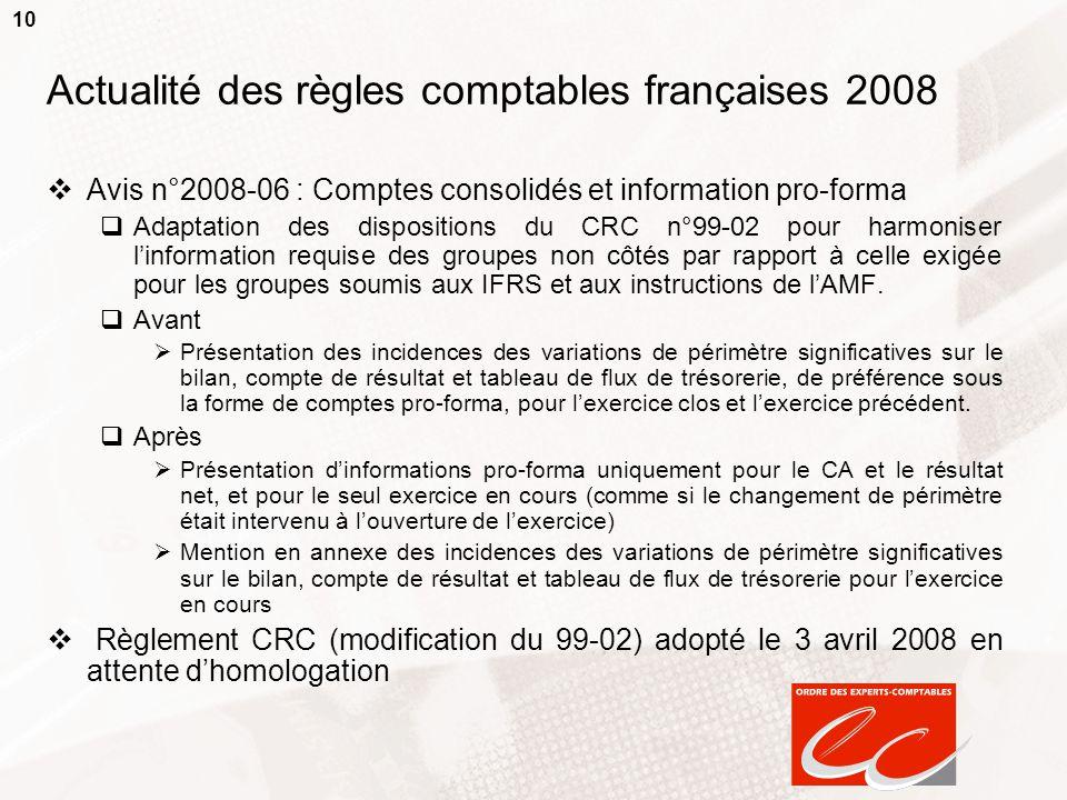 10 Actualité des règles comptables françaises 2008  Avis n°2008-06 : Comptes consolidés et information pro-forma  Adaptation des dispositions du CRC n°99-02 pour harmoniser l'information requise des groupes non côtés par rapport à celle exigée pour les groupes soumis aux IFRS et aux instructions de l'AMF.