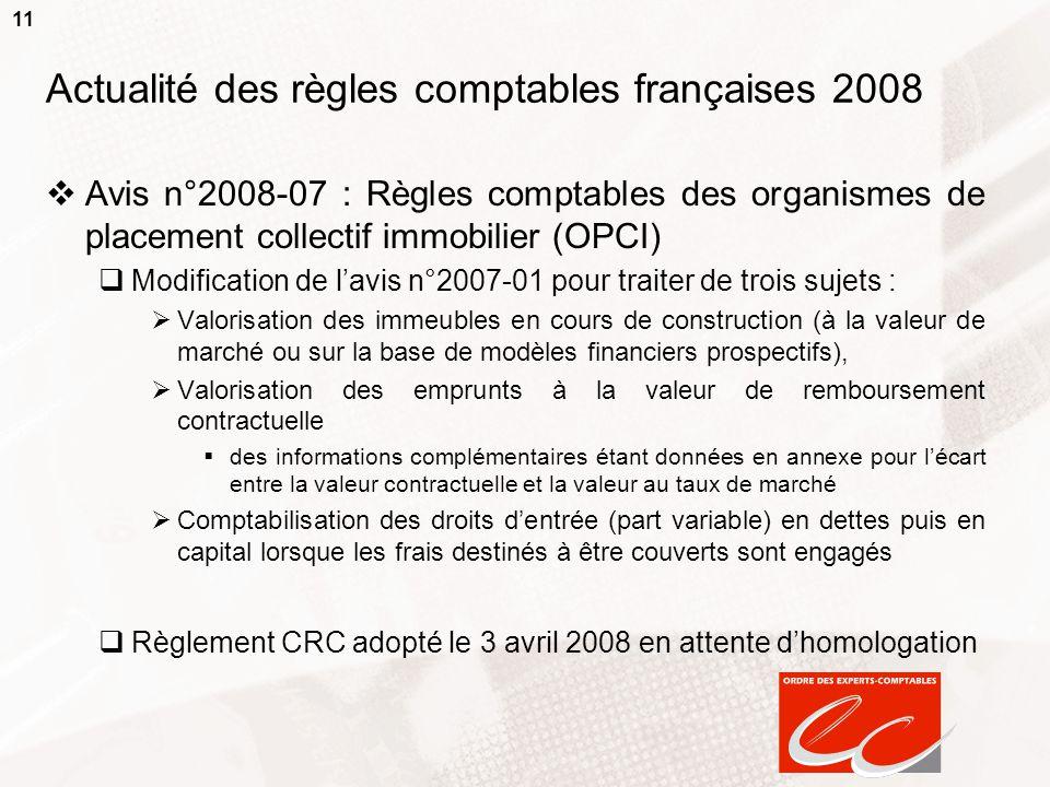 11 Actualité des règles comptables françaises 2008  Avis n°2008-07 : Règles comptables des organismes de placement collectif immobilier (OPCI)  Modi