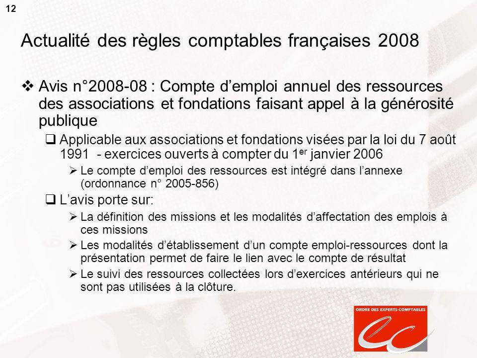 12 Actualité des règles comptables françaises 2008  Avis n°2008-08 : Compte d'emploi annuel des ressources des associations et fondations faisant app