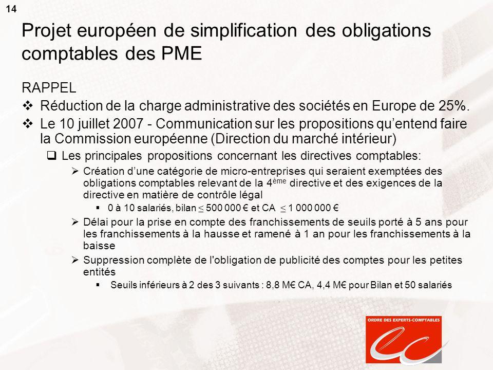 14 Projet européen de simplification des obligations comptables des PME RAPPEL  Réduction de la charge administrative des sociétés en Europe de 25%.