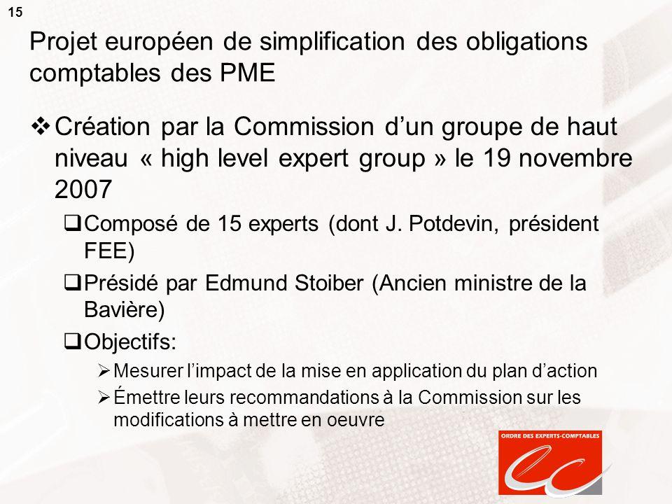 15 Projet européen de simplification des obligations comptables des PME  Création par la Commission d'un groupe de haut niveau « high level expert group » le 19 novembre 2007  Composé de 15 experts (dont J.