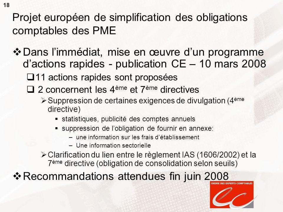 18 Projet européen de simplification des obligations comptables des PME  Dans l'immédiat, mise en œuvre d'un programme d'actions rapides - publicatio