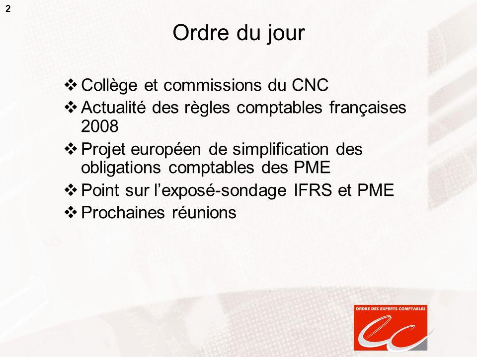 2 Ordre du jour  Collège et commissions du CNC  Actualité des règles comptables françaises 2008  Projet européen de simplification des obligations
