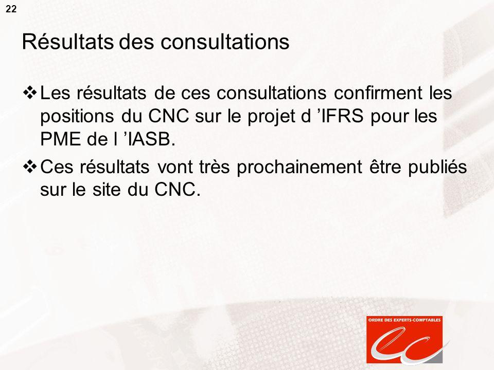 22 Résultats des consultations  Les résultats de ces consultations confirment les positions du CNC sur le projet d 'IFRS pour les PME de l 'IASB.  C