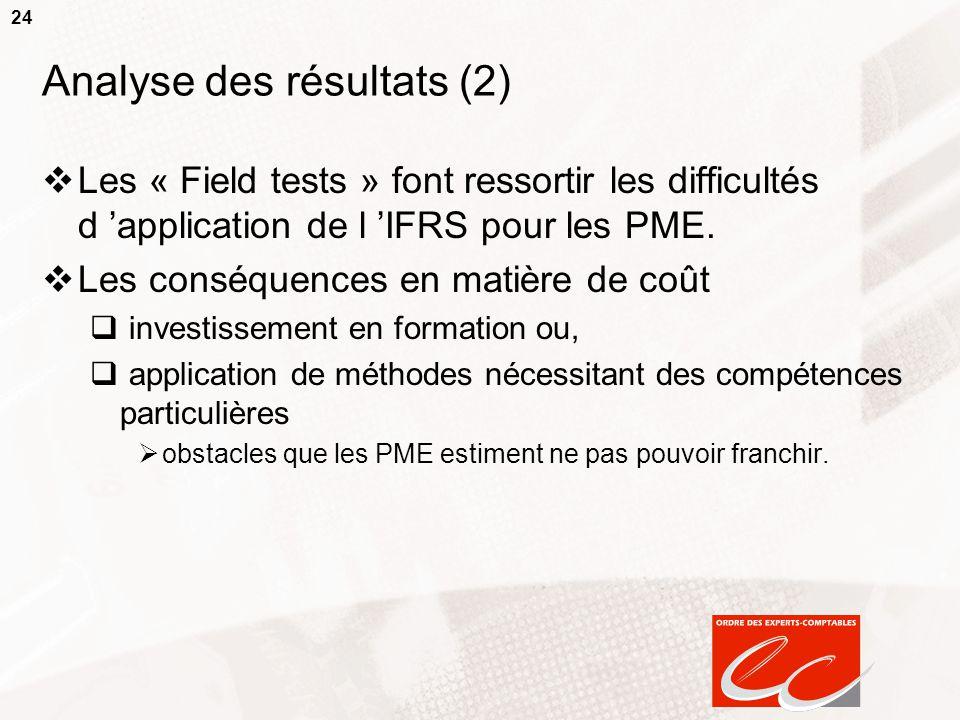 24 Analyse des résultats (2)  Les « Field tests » font ressortir les difficultés d 'application de l 'IFRS pour les PME.  Les conséquences en matièr