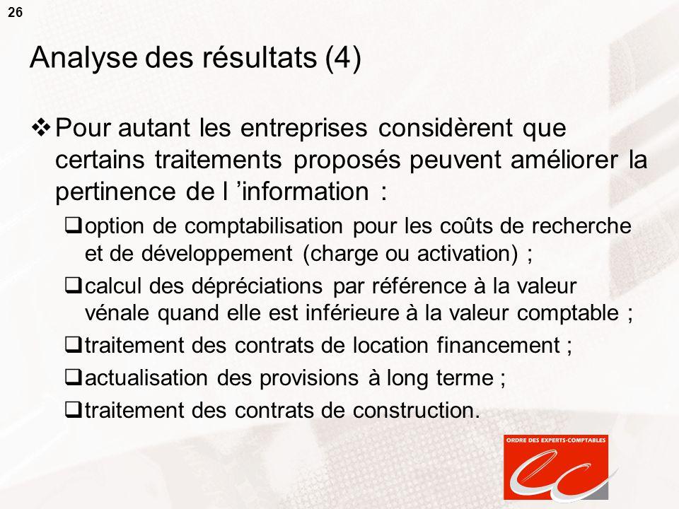 26 Analyse des résultats (4)  Pour autant les entreprises considèrent que certains traitements proposés peuvent améliorer la pertinence de l 'informa