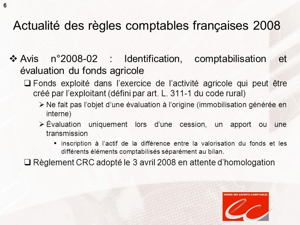 6 Actualité des règles comptables françaises 2008  Avis n°2008-02 : Identification, comptabilisation et évaluation du fonds agricole  Fonds exploité