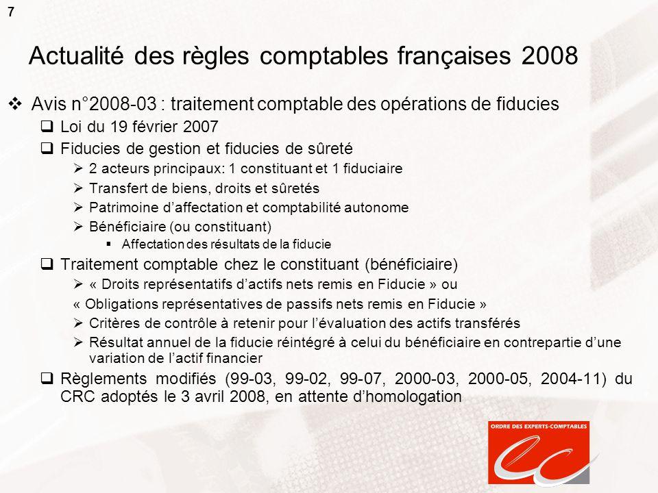 7 Actualité des règles comptables françaises 2008  Avis n°2008-03 : traitement comptable des opérations de fiducies  Loi du 19 février 2007  Fiduci