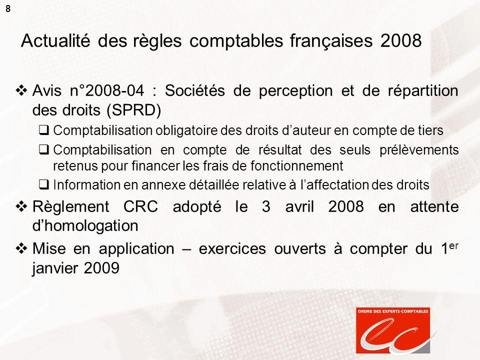 8 Actualité des règles comptables françaises 2008  Avis n°2008-04 : Sociétés de perception et de répartition des droits (SPRD)  Comptabilisation obl