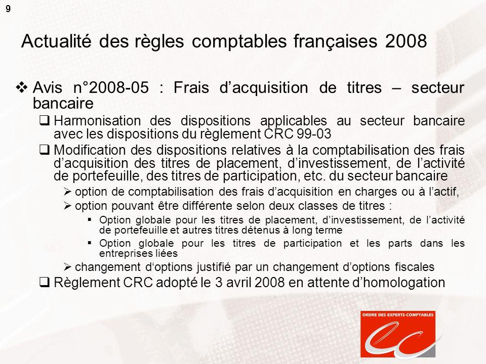 9 Actualité des règles comptables françaises 2008  Avis n°2008-05 : Frais d'acquisition de titres – secteur bancaire  Harmonisation des dispositions