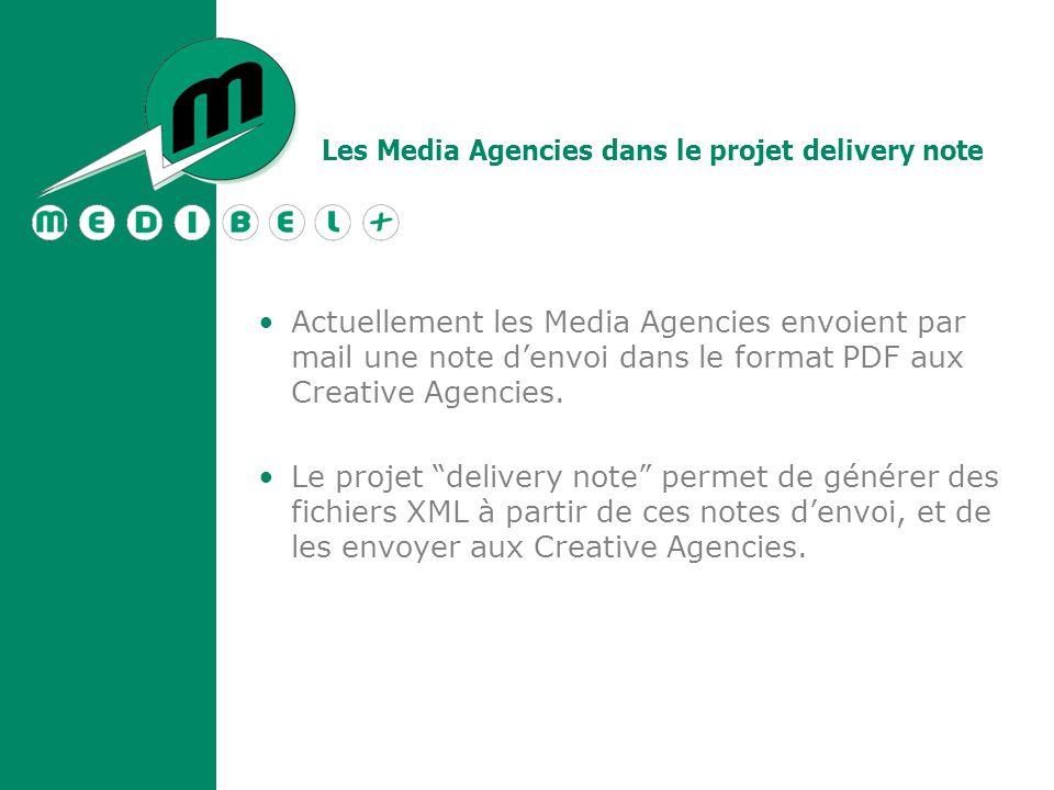 Les Media Agencies dans le projet delivery note Actuellement les Media Agencies envoient par mail une note d'envoi dans le format PDF aux Creative Agencies.