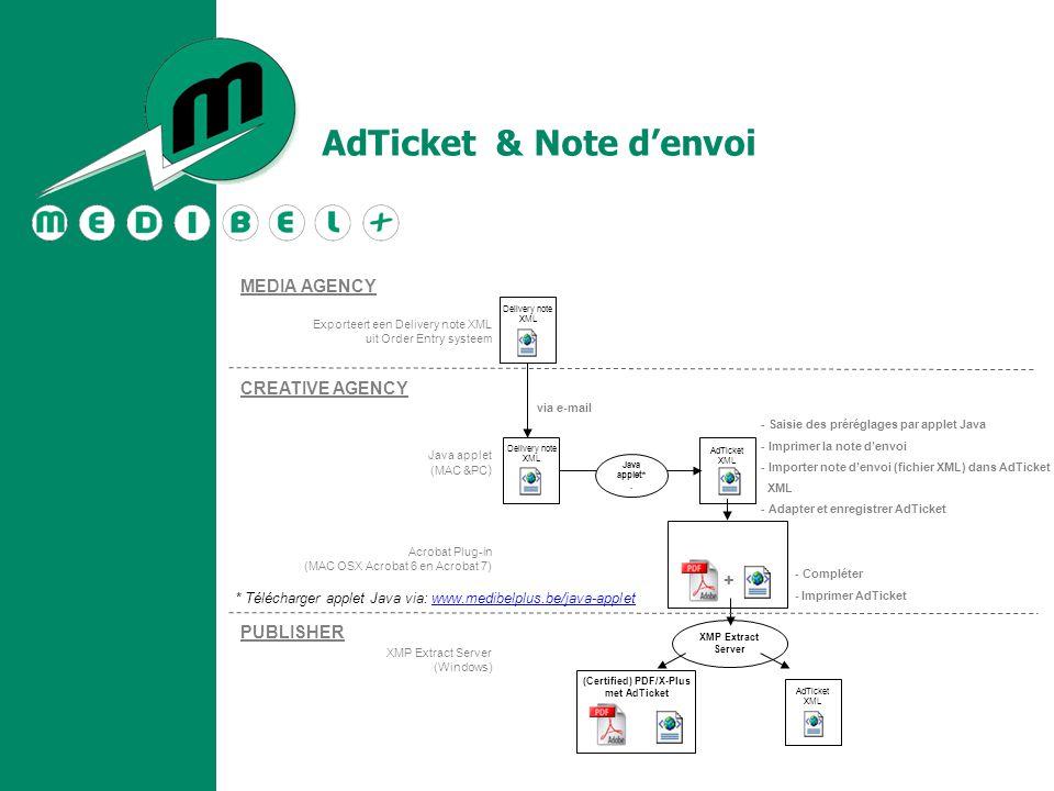 - Compléter - Imprimer AdTicket via e-mail - Saisie des préréglages par applet Java - Imprimer la note d'envoi - Importer note d'envoi (fichier XML) dans AdTicket XML - Adapter et enregistrer AdTicket * Télécharger applet Java via: www.medibelplus.be/java-applet Delivery note XML + AdTicket XML XMP Extract Server (Certified) PDF/X-Plus met AdTicket AdTicket XML Java applet*.