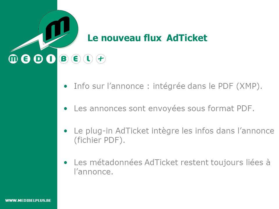 Le nouveau flux AdTicket WWW.MEDIBELPLUS.BE CREATIVE AGENCY (Certified) PDF/X- Plus with AdTicket AdTicket (Certified) PDF/X- Plus with AdTicket PUBLISHER Acrobat 6.0 Plug-in voor MAC OSX Acrobat 7.0 Plug-in voor MAC OSX +