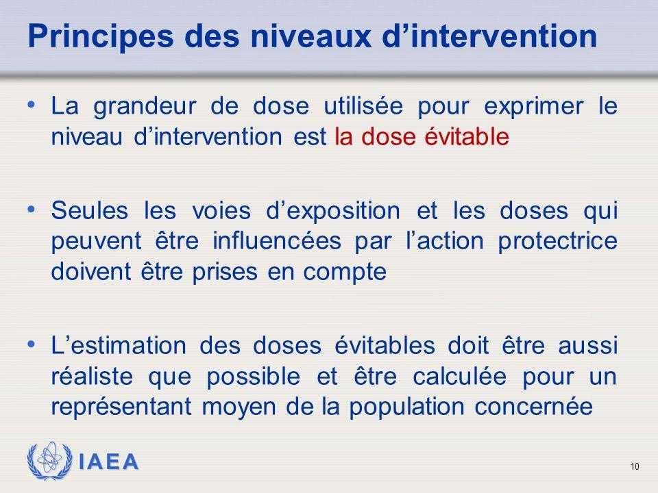 IAEA 10 Principes des niveaux d'intervention La grandeur de dose utilisée pour exprimer le niveau d'intervention est la dose évitable Seules les voies d'exposition et les doses qui peuvent être influencées par l'action protectrice doivent être prises en compte L'estimation des doses évitables doit être aussi réaliste que possible et être calculée pour un représentant moyen de la population concernée