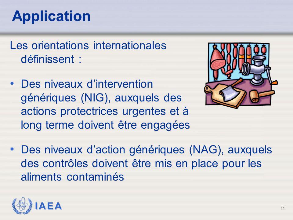 IAEA 11 Application Les orientations internationales définissent : Des niveaux d'intervention génériques (NIG), auxquels des actions protectrices urgentes et à long terme doivent être engagées Des niveaux d'action génériques (NAG), auxquels des contrôles doivent être mis en place pour les aliments contaminés