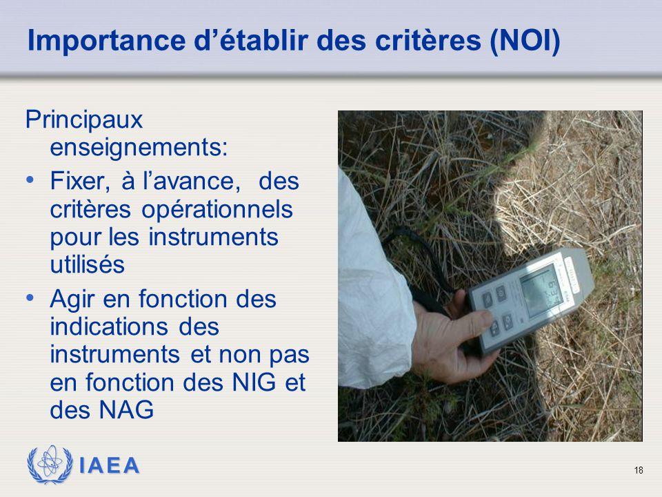 IAEA 18 Importance d'établir des critères (NOI) Principaux enseignements: Fixer, à l'avance, des critères opérationnels pour les instruments utilisés Agir en fonction des indications des instruments et non pas en fonction des NIG et des NAG