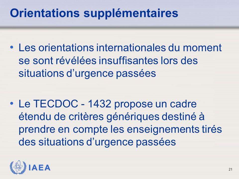 IAEA 21 Orientations supplémentaires Les orientations internationales du moment se sont révélées insuffisantes lors des situations d'urgence passées Le TECDOC - 1432 propose un cadre étendu de critères génériques destiné à prendre en compte les enseignements tirés des situations d'urgence passées