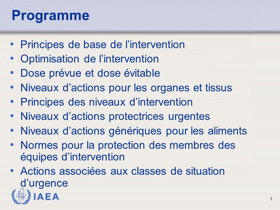 IAEA 3 Programme Principes de base de l'intervention Optimisation de l'intervention Dose prévue et dose évitable Niveaux d'actions pour les organes et tissus Principes des niveaux d'intervention Niveaux d'actions protectrices urgentes Niveaux d'actions génériques pour les aliments Normes pour la protection des membres des équipes d'intervention Actions associées aux classes de situation d'urgence