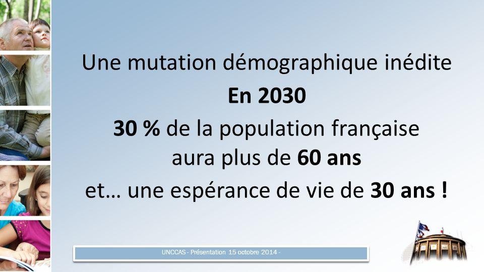 Une mutation démographique inédite En 2030 30 % de la population française aura plus de 60 ans et… une espérance de vie de 30 ans .