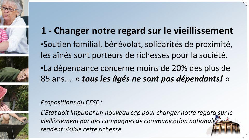 1 - Changer notre regard sur le vieillissement Soutien familial, bénévolat, solidarités de proximité, les aînés sont porteurs de richesses pour la société.