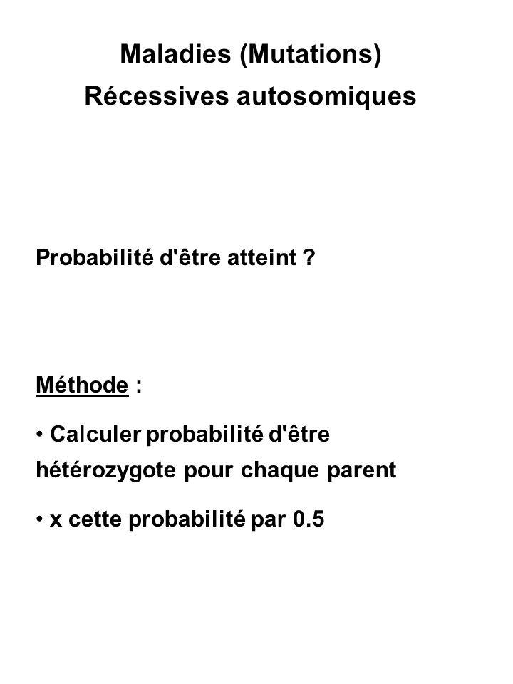 Maladies (Mutations) Récessives autosomiques Probabilité d'être atteint ? Méthode : Calculer probabilité d'être hétérozygote pour chaque parent x cett
