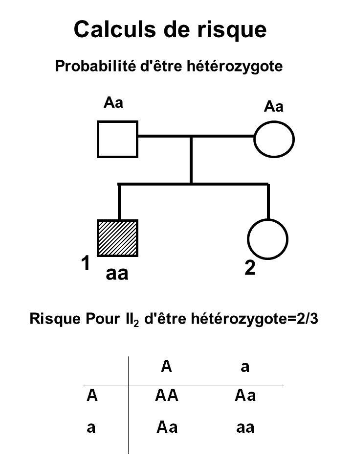 Calculs de risque Probabilité d'être hétérozygote Aa 2 1 aa Risque Pour II 2 d'être hétérozygote=2/3