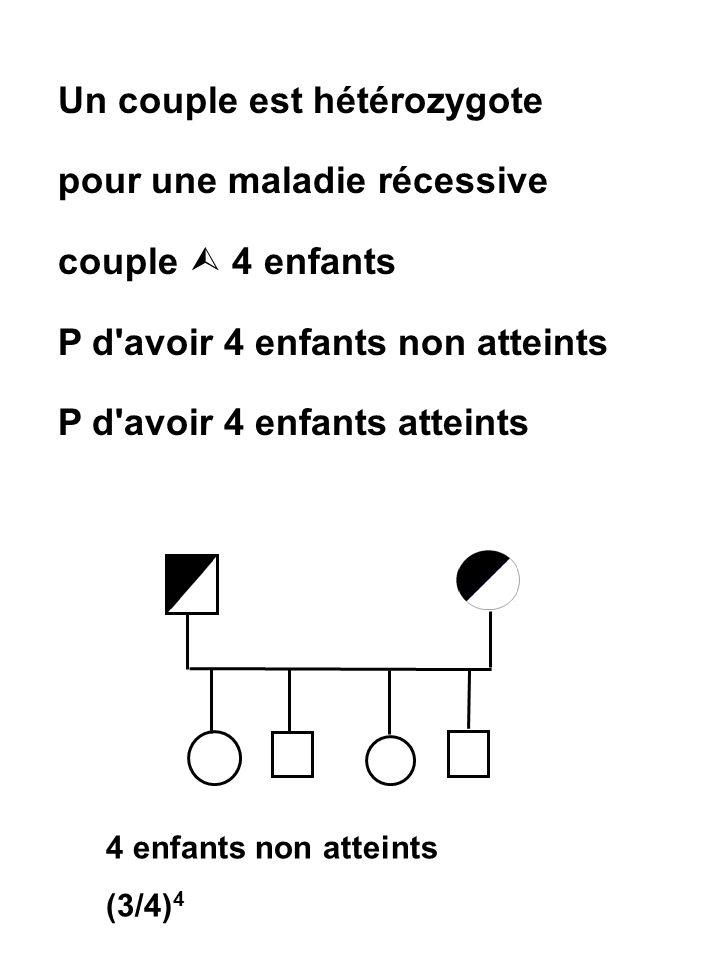 Un couple est hétérozygote pour une maladie récessive couple  4 enfants P d'avoir 4 enfants non atteints P d'avoir 4 enfants atteints 4 enfants non a