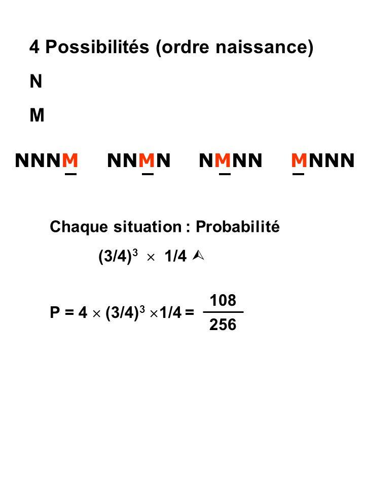 4 Possibilités (ordre naissance) N M NNNM NNMN NMNN MNNN Chaque situation : Probabilité (3/4) 3  1/4  P = 4  (3/4) 3  1/4 = 108 256